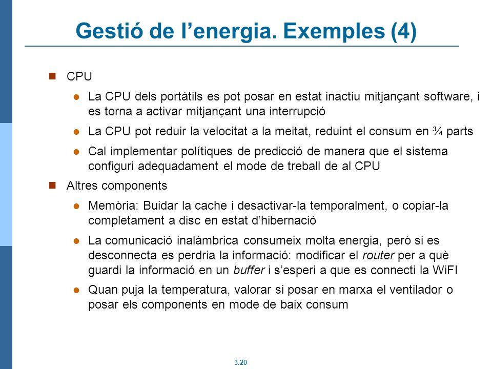 Gestió de l'energia. Exemples (4)