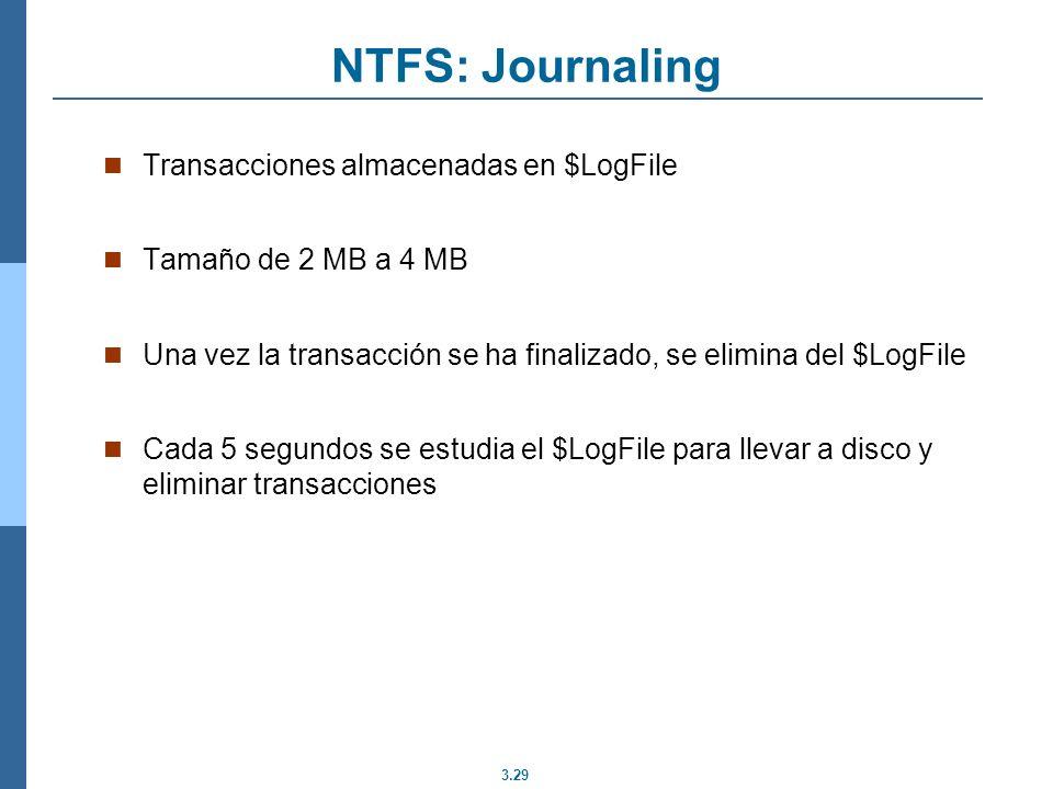 NTFS: Journaling Transacciones almacenadas en $LogFile