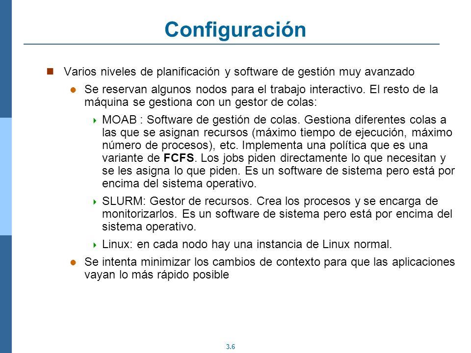 Configuración Varios niveles de planificación y software de gestión muy avanzado.