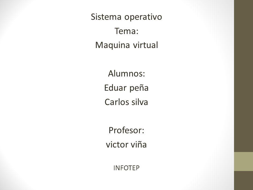 Sistema operativo Tema: Maquina virtual Alumnos: Eduar peña