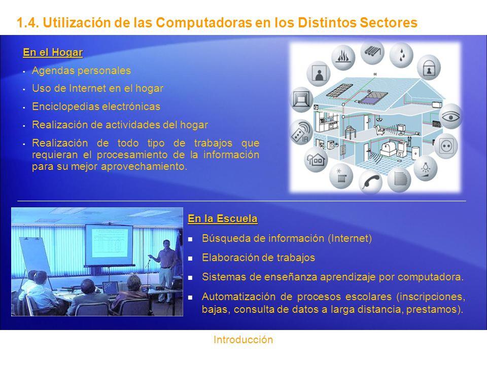 1.4. Utilización de las Computadoras en los Distintos Sectores