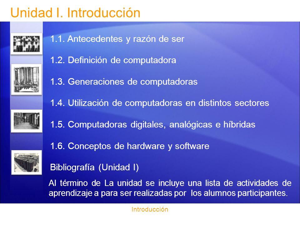 Unidad I. Introducción 1.1. Antecedentes y razón de ser