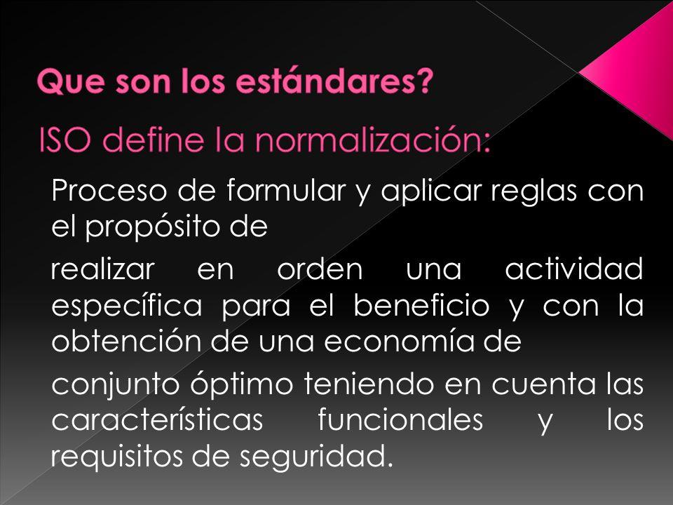 ISO define la normalización: