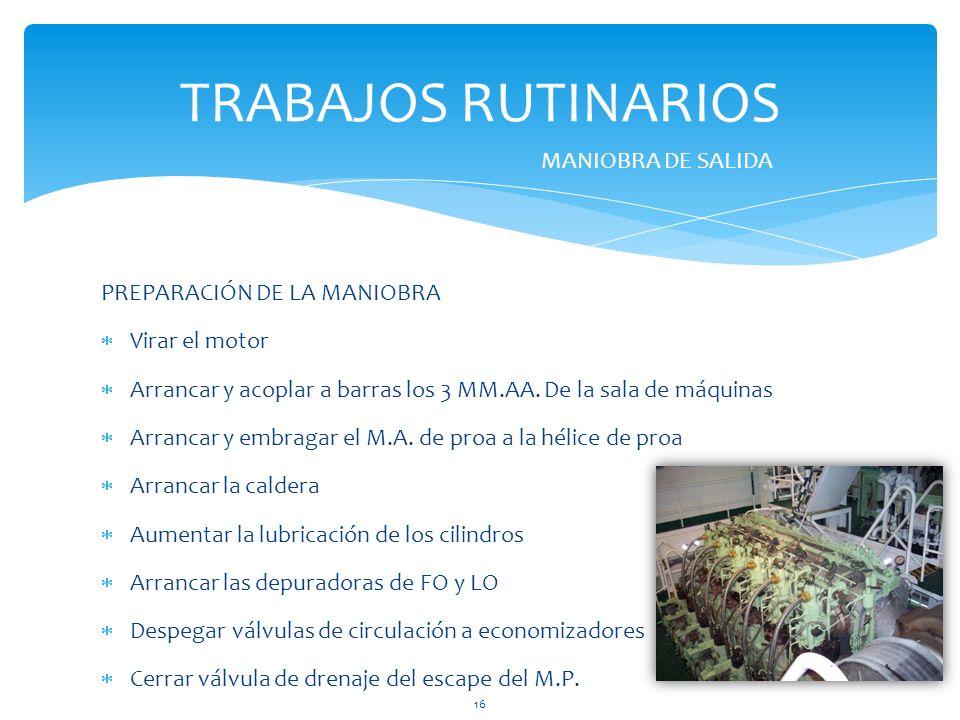 TRABAJOS RUTINARIOS MANIOBRA DE SALIDA PREPARACIÓN DE LA MANIOBRA