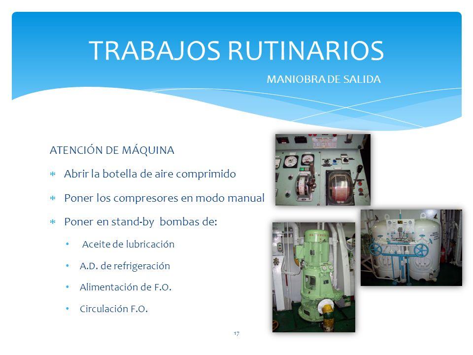 TRABAJOS RUTINARIOS MANIOBRA DE SALIDA ATENCIÓN DE MÁQUINA
