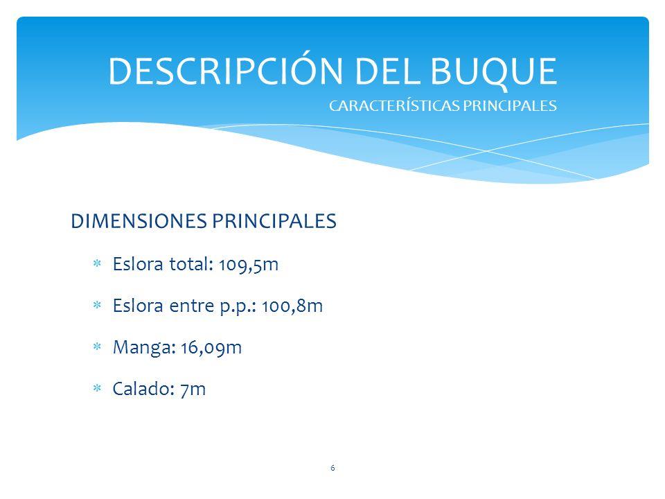 DESCRIPCIÓN DEL BUQUE DIMENSIONES PRINCIPALES Eslora total: 109,5m