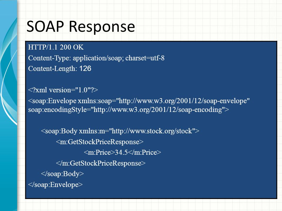 SOAP Response HTTP/1.1 200 OK. Content-Type: application/soap; charset=utf-8. Content-Length: 126.