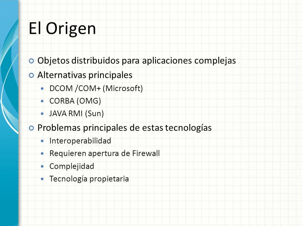 El Origen Objetos distribuidos para aplicaciones complejas