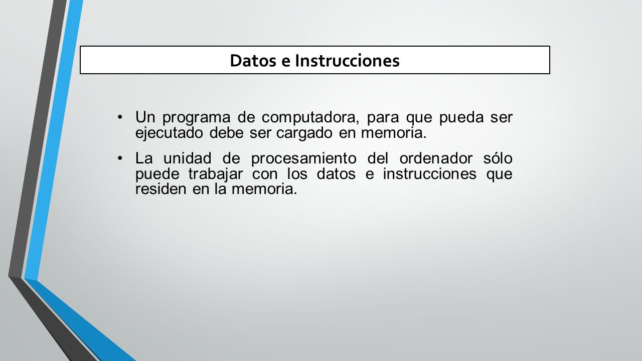 Datos e Instrucciones Un programa de computadora, para que pueda ser ejecutado debe ser cargado en memoria.