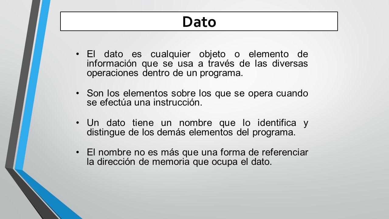 Dato El dato es cualquier objeto o elemento de información que se usa a través de las diversas operaciones dentro de un programa.