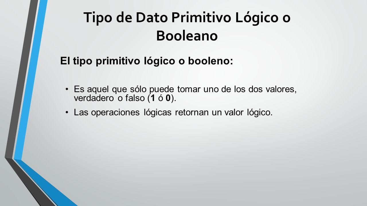 Tipo de Dato Primitivo Lógico o Booleano