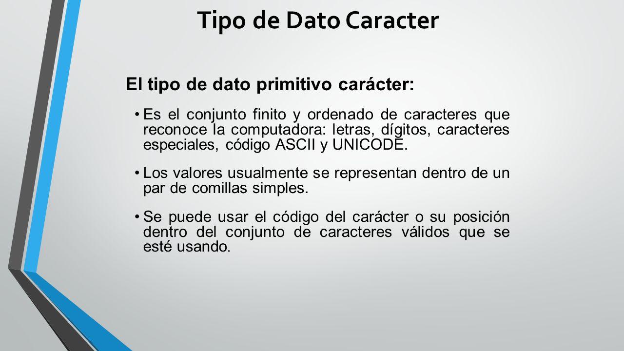 Tipo de Dato Caracter El tipo de dato primitivo carácter: