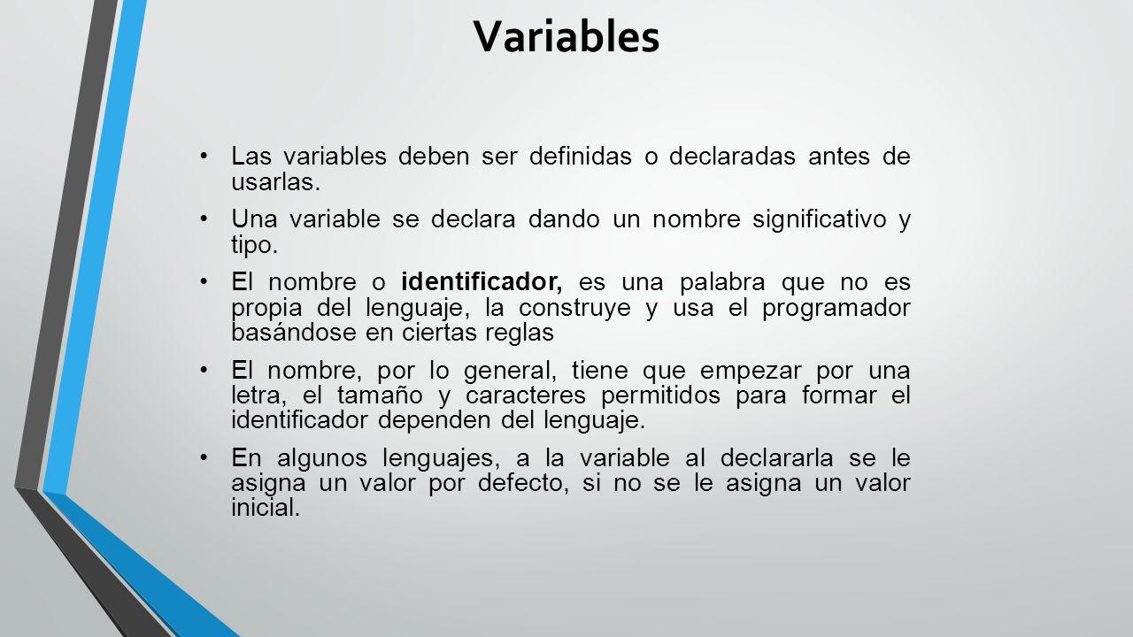 Variables Las variables deben ser definidas o declaradas antes de usarlas. Una variable se declara dando un nombre significativo y tipo.