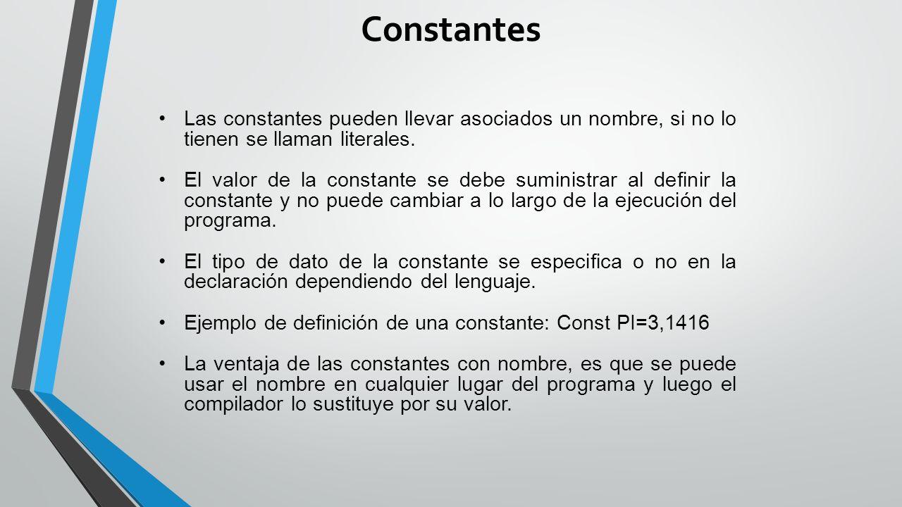 Constantes Las constantes pueden llevar asociados un nombre, si no lo tienen se llaman literales.
