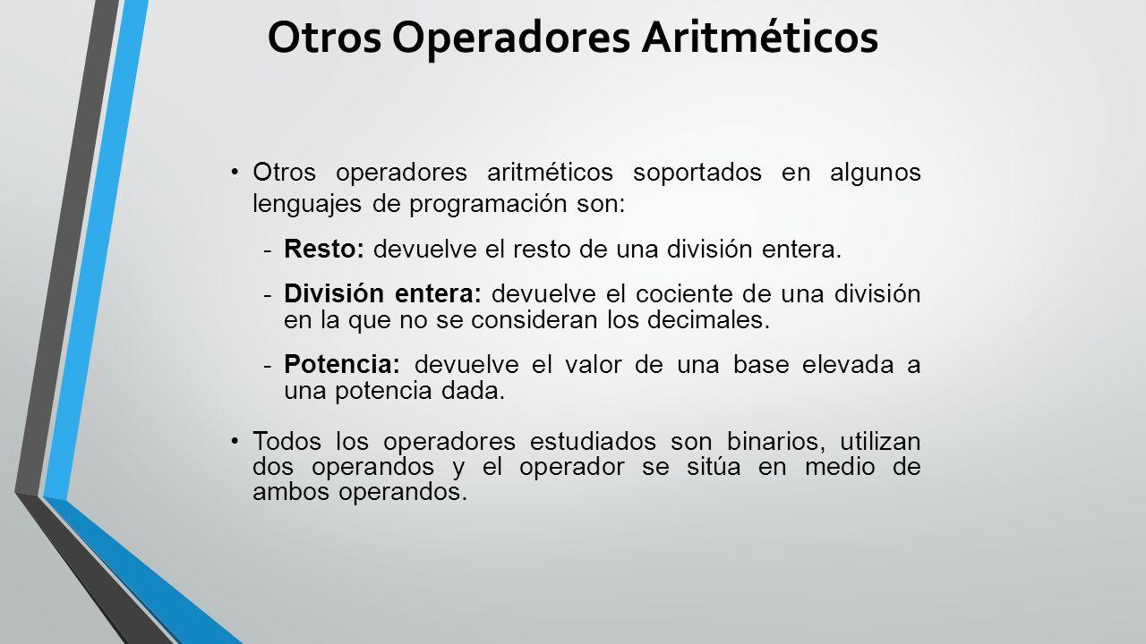 Otros Operadores Aritméticos
