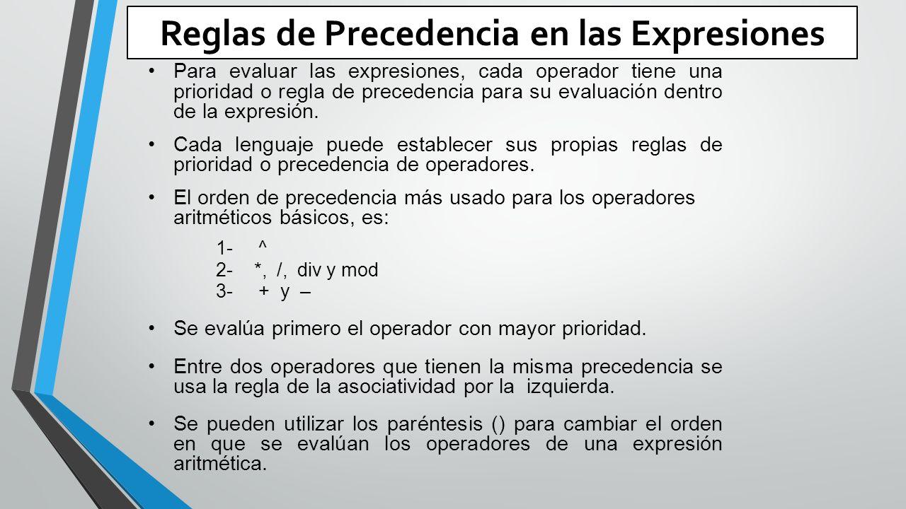 Reglas de Precedencia en las Expresiones