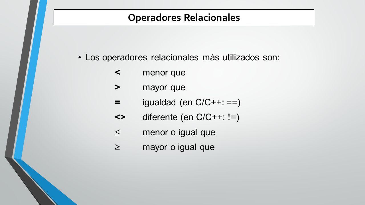 Operadores Relacionales