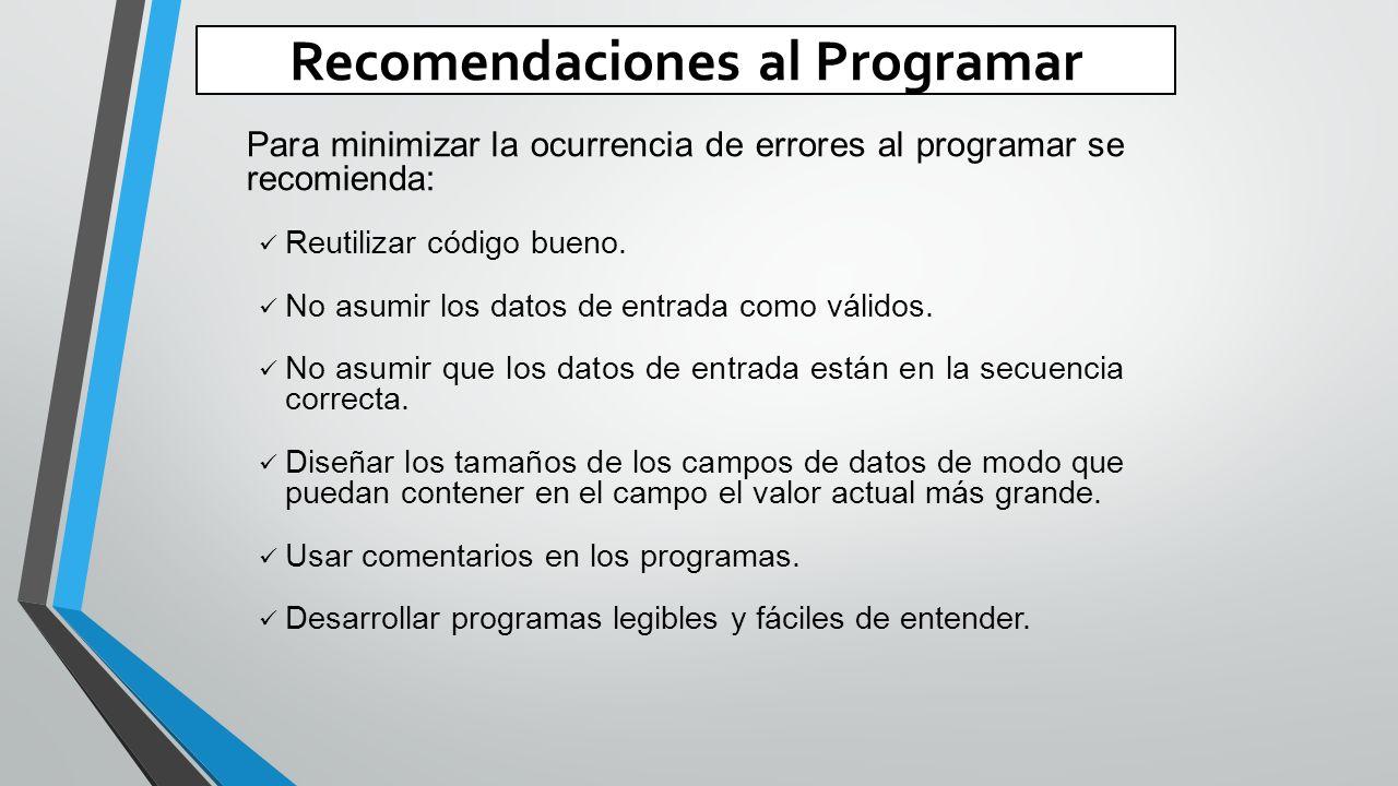 Recomendaciones al Programar