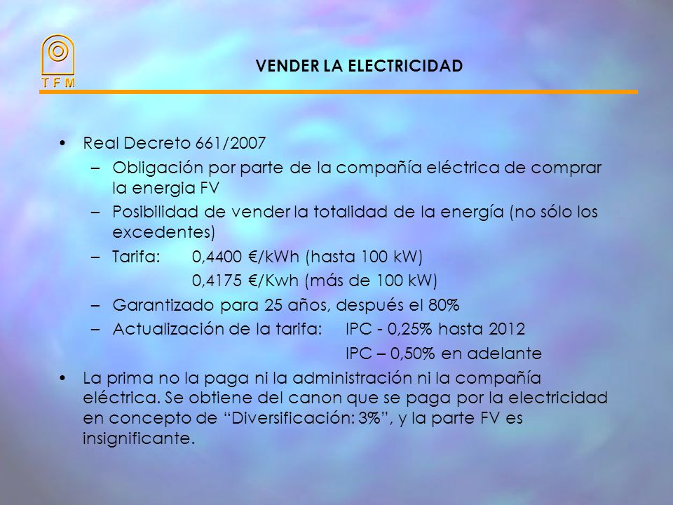 VENDER LA ELECTRICIDAD