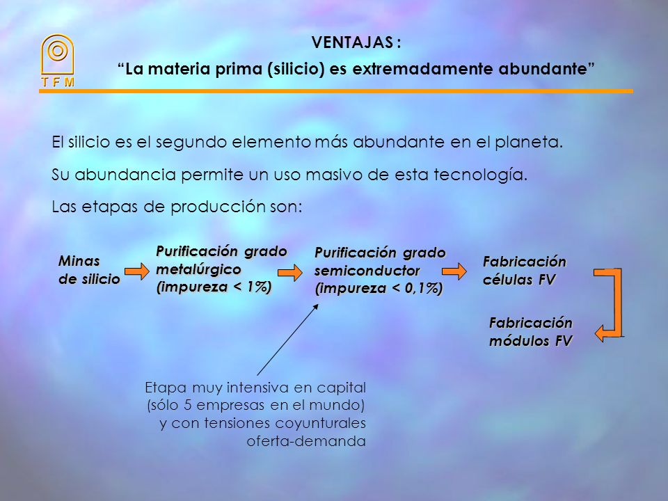 VENTAJAS : La materia prima (silicio) es extremadamente abundante