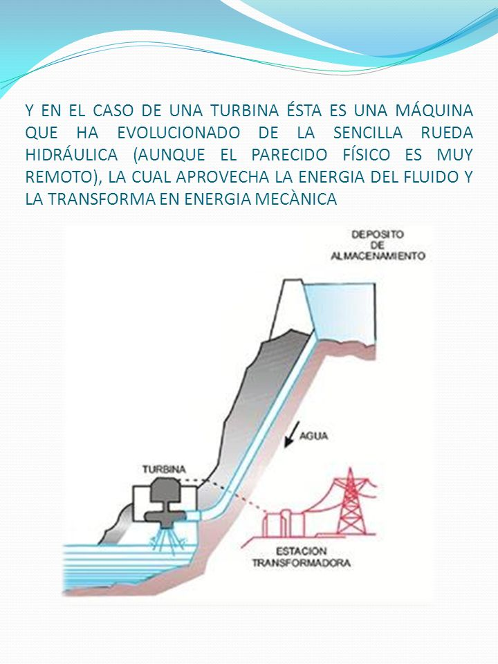 Y EN EL CASO DE UNA TURBINA ÉSTA ES UNA MÁQUINA QUE HA EVOLUCIONADO DE LA SENCILLA RUEDA HIDRÁULICA (AUNQUE EL PARECIDO FÍSICO ES MUY REMOTO), LA CUAL APROVECHA LA ENERGIA DEL FLUIDO Y LA TRANSFORMA EN ENERGIA MECÀNICA