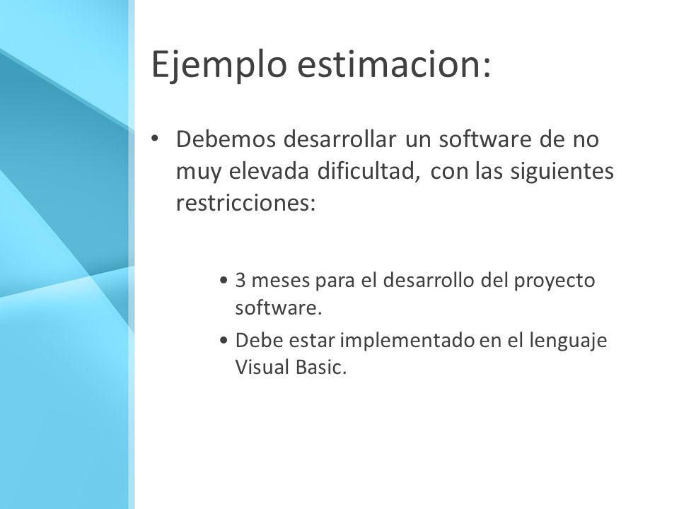 Ejemplo estimacion: Debemos desarrollar un software de no muy elevada dificultad, con las siguientes restricciones: