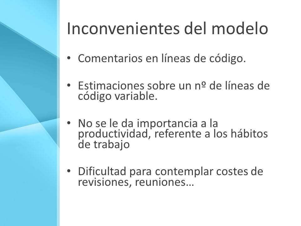 Inconvenientes del modelo