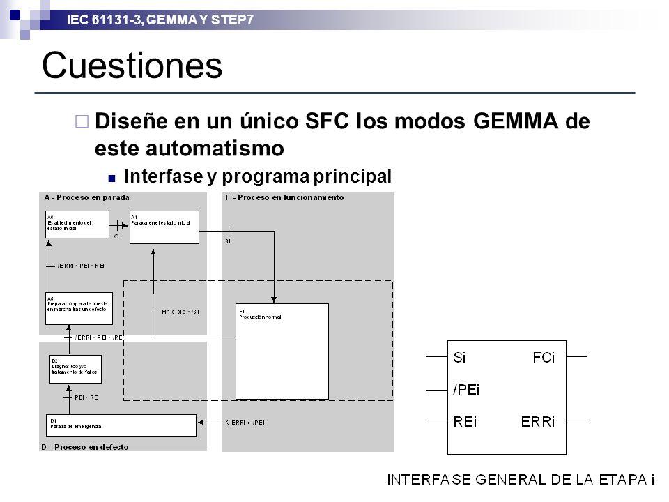 Cuestiones Diseñe en un único SFC los modos GEMMA de este automatismo