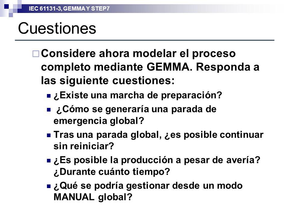 Cuestiones Considere ahora modelar el proceso completo mediante GEMMA. Responda a las siguiente cuestiones:
