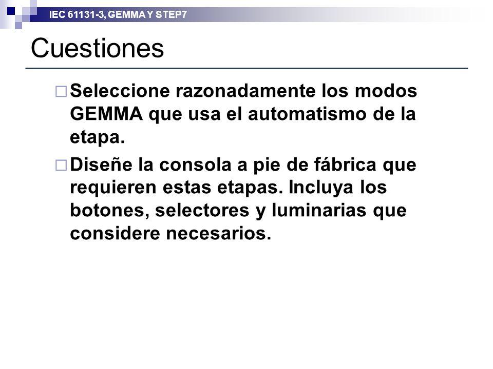 Cuestiones Seleccione razonadamente los modos GEMMA que usa el automatismo de la etapa.