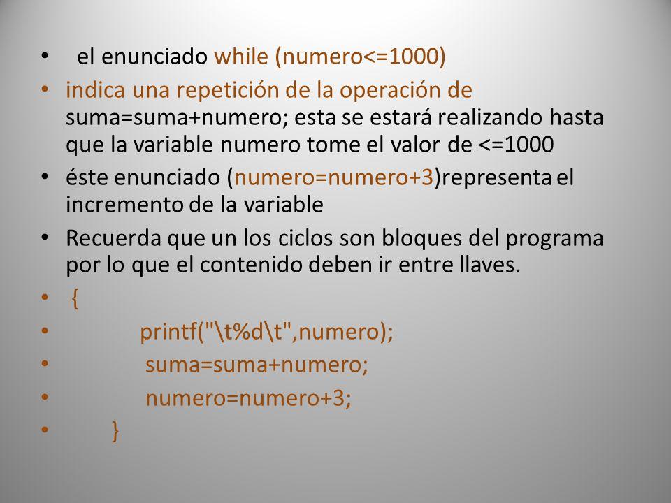 el enunciado while (numero<=1000)