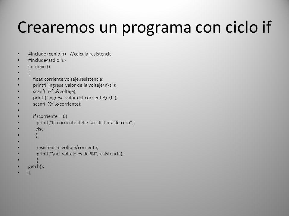 Crearemos un programa con ciclo if