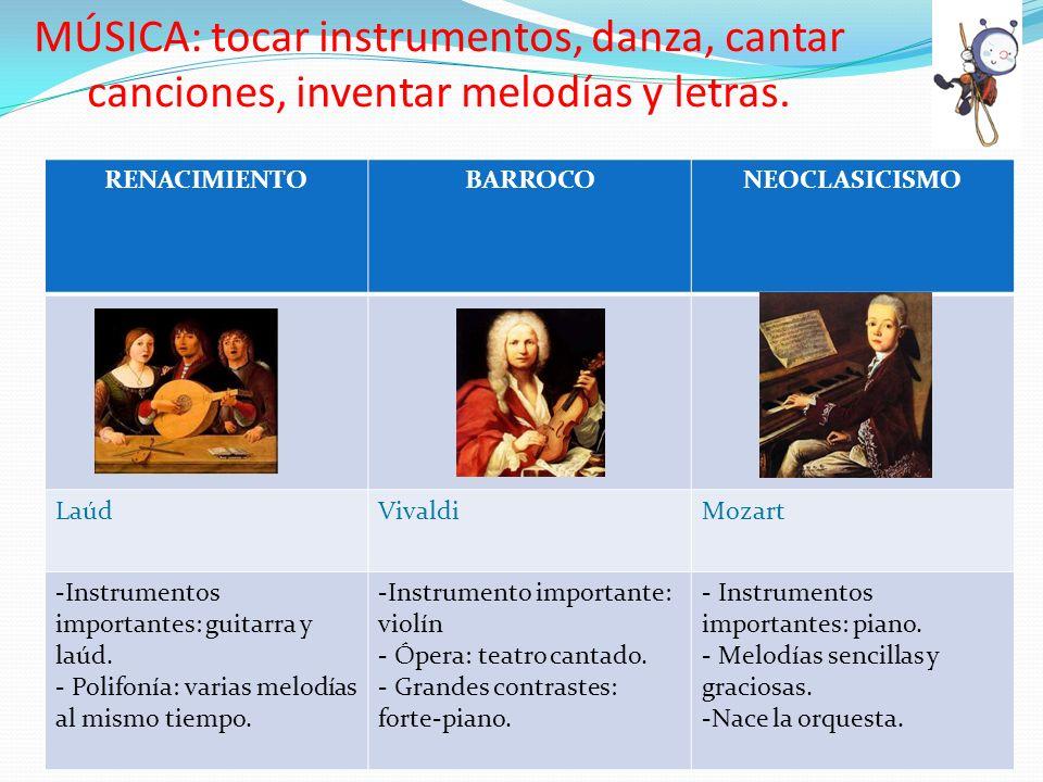 MÚSICA: tocar instrumentos, danza, cantar canciones, inventar melodías y letras.
