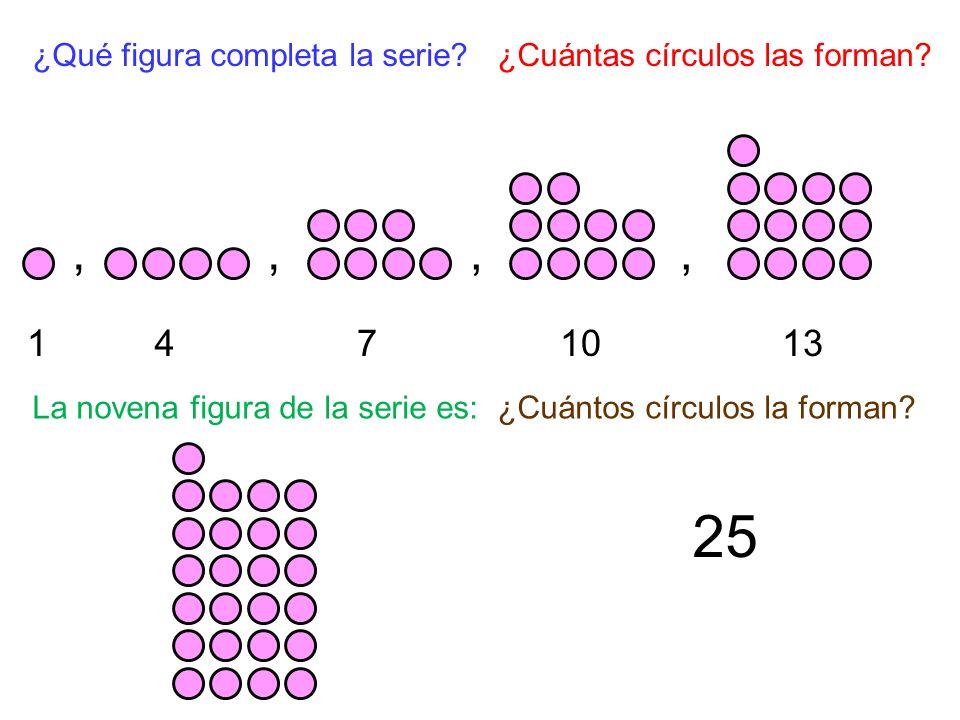 25 , , , , 1 4 7 10 13 ¿Qué figura completa la serie