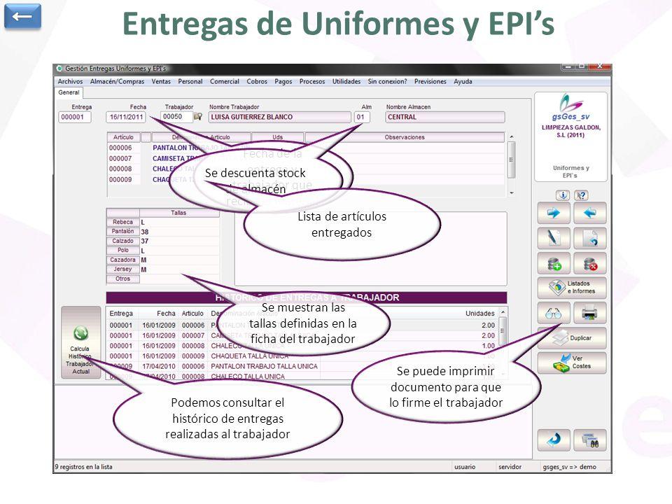 Entregas de Uniformes y EPI's