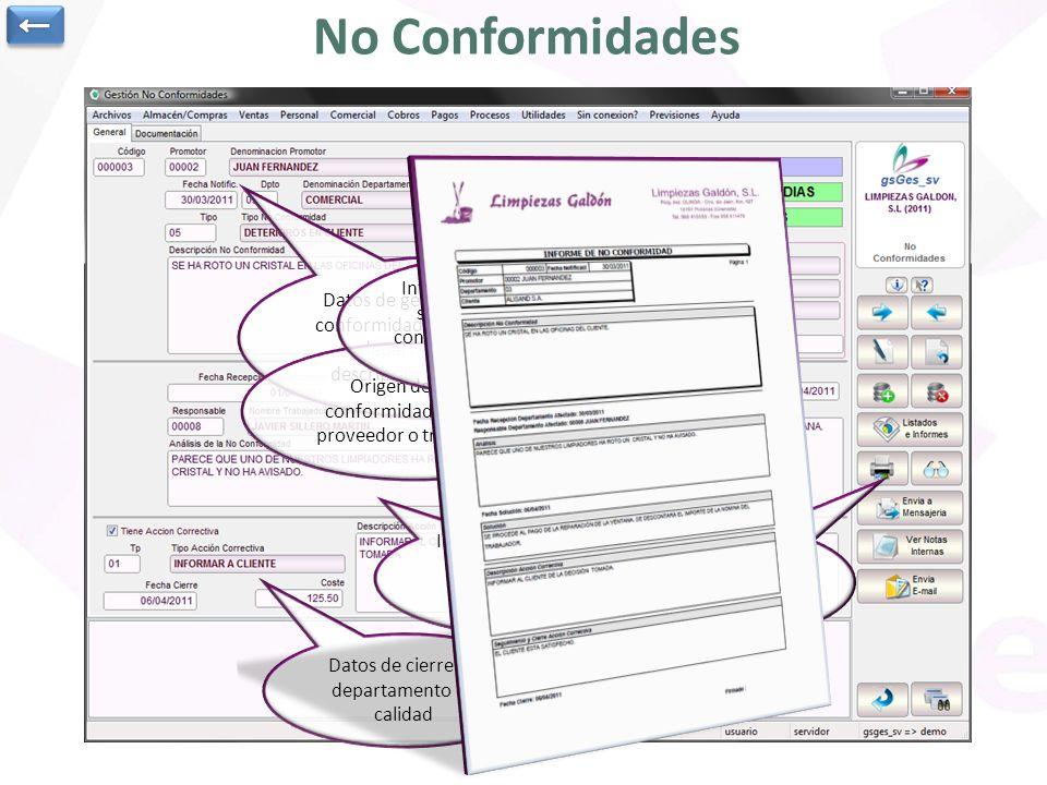 ← No Conformidades. Datos de generación de la no conformidad: promotor, fecha, departamento, tipo, descripción, plazo previsto.