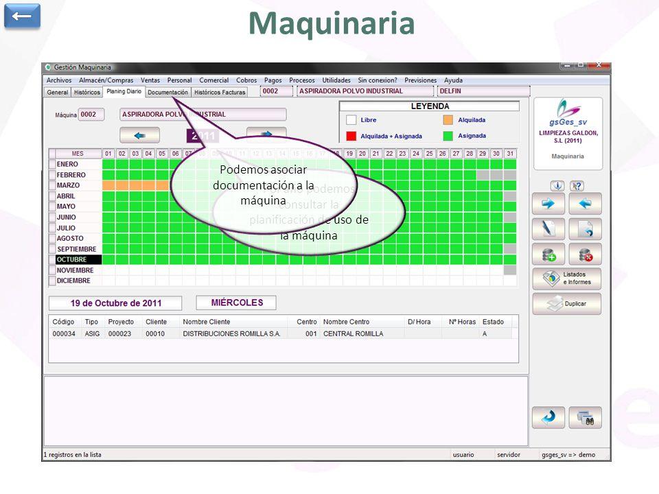 Maquinaria ← Podemos asociar documentación a la máquina