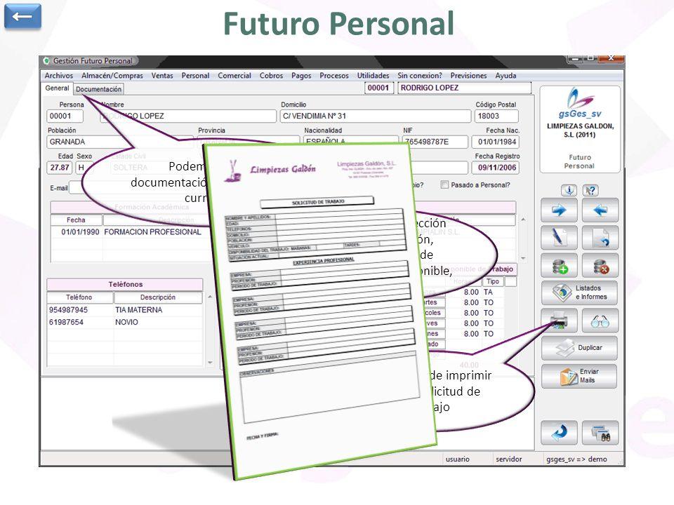 ← Futuro Personal. Podemos asociar documentación, por ejemplo el curriculum.
