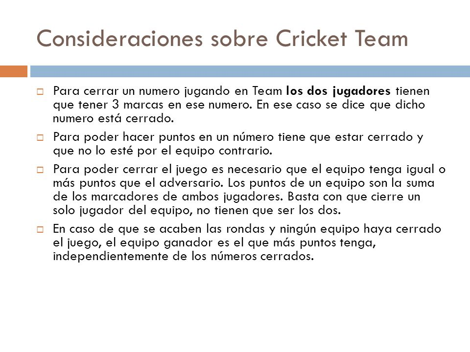 Consideraciones sobre Cricket Team