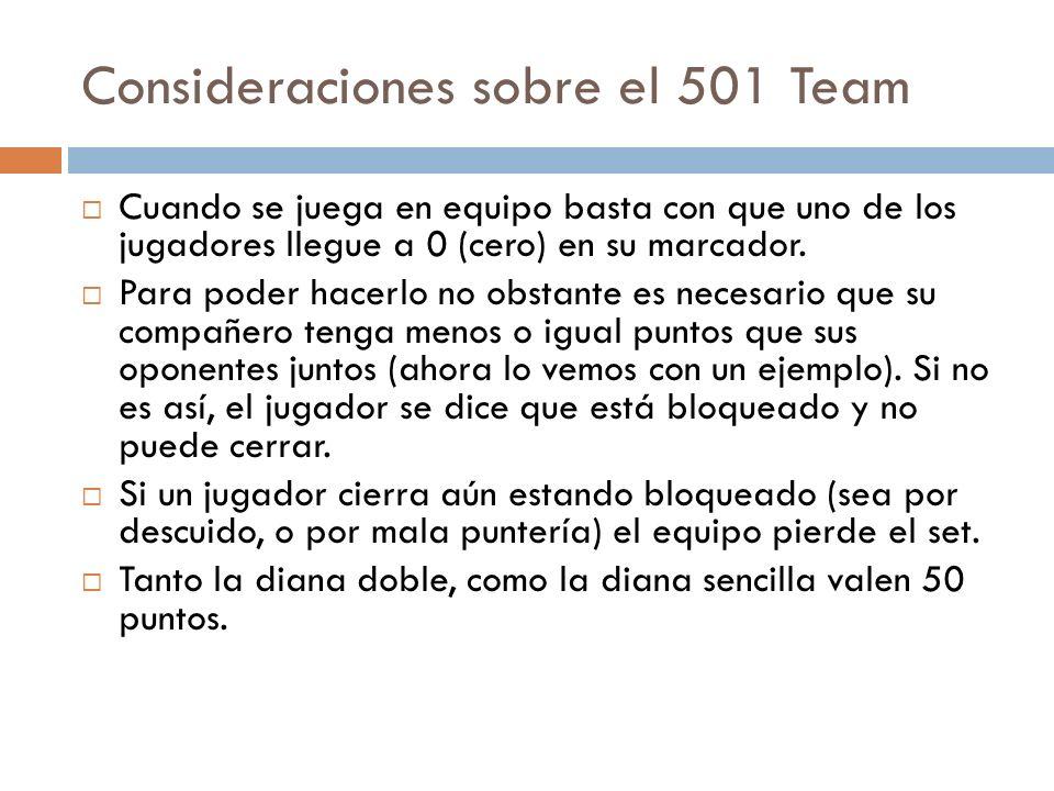 Consideraciones sobre el 501 Team