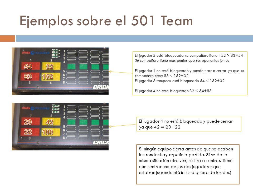 Ejemplos sobre el 501 Team El jugador 2 está bloqueado: su compañero tiene 152 > 83+54. Su compañero tiene más puntos que sus oponentes juntos.