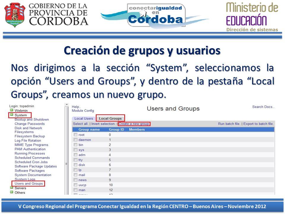 Creación de grupos y usuarios