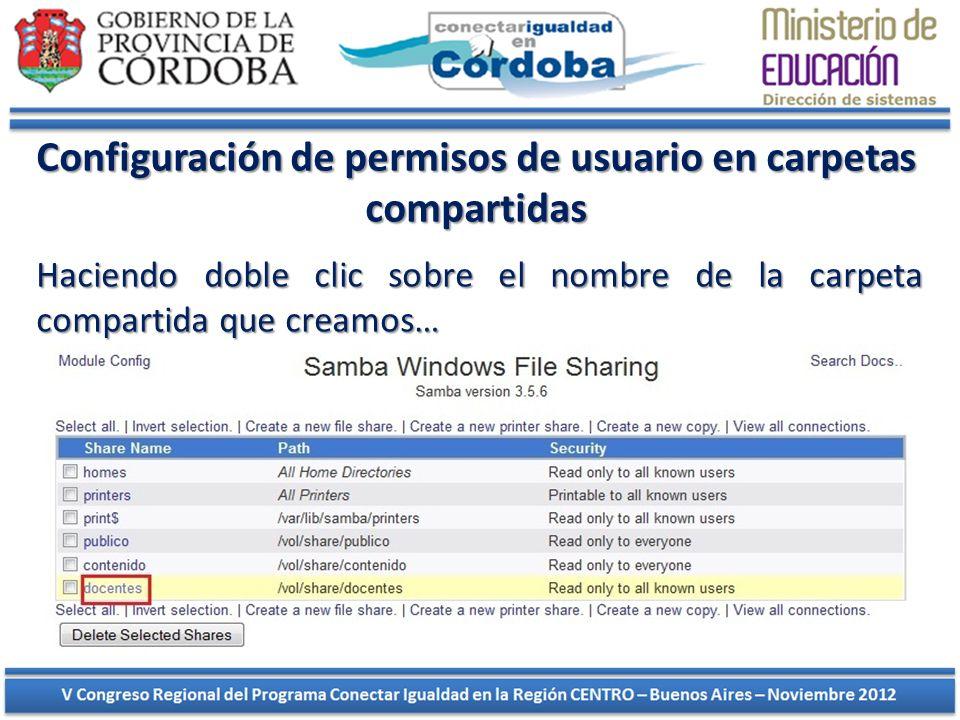 Configuración de permisos de usuario en carpetas compartidas