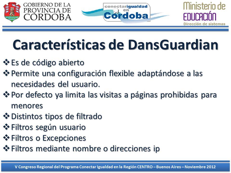 Características de DansGuardian