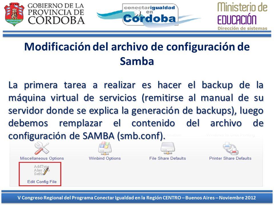 Modificación del archivo de configuración de Samba