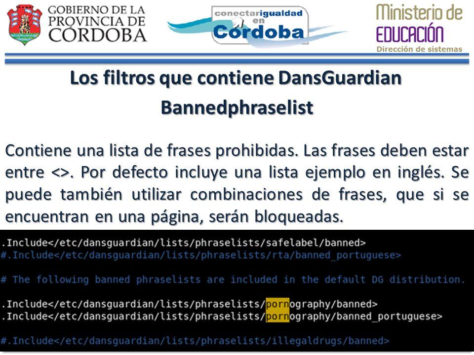 Los filtros que contiene DansGuardian