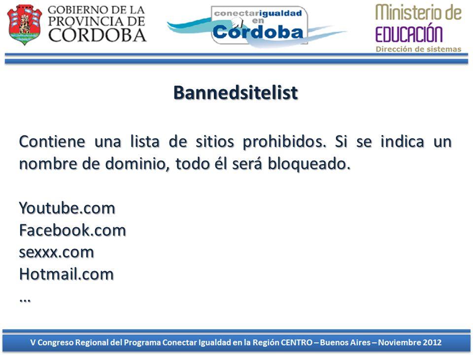 Bannedsitelist Contiene una lista de sitios prohibidos. Si se indica un nombre de dominio, todo él será bloqueado.