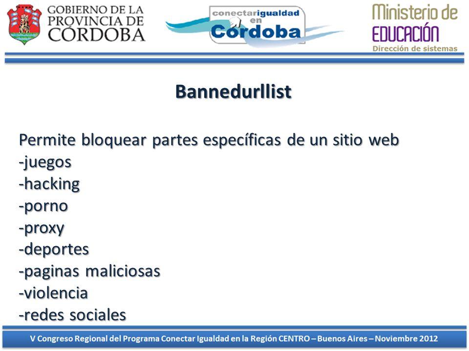 Bannedurllist Permite bloquear partes específicas de un sitio web