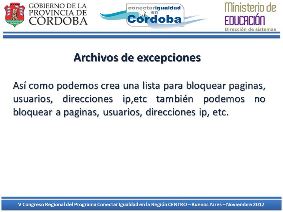 Archivos de excepciones