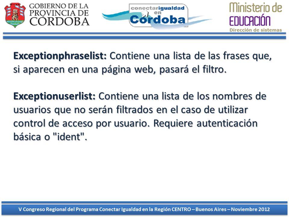 Exceptionphraselist: Contiene una lista de las frases que, si aparecen en una página web, pasará el filtro.